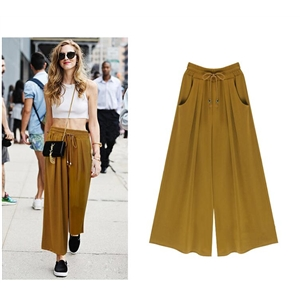 Female Wide Leg Pants Nine pants Baggy Harem Pants Loose Pantalones Mujer Solid Trousers for Women  Apparel
