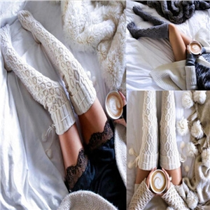 Winter Warm Women Knit Crochet Thick Long Socks Thigh-High Leggings