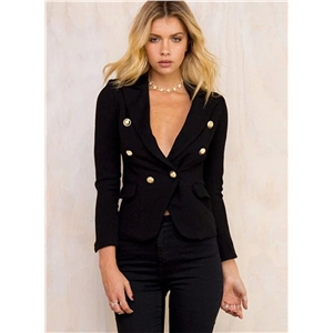 Fashion Long Sleeve Slim Fit Double Breasted Blazer