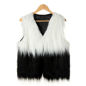Fashion V Neck Two Tone Faux Fur Vest