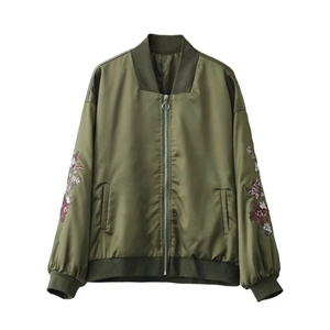 Fashion Loose Floral Embroidery Bomber Jacket