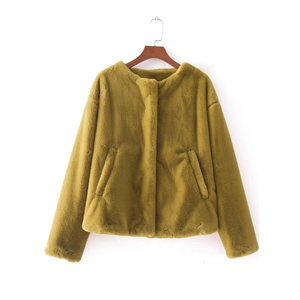 Round Neck Long Sleeve Solid Color Thicken Coat