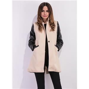 Fashion Faux Leather Panel Single Button Coat
