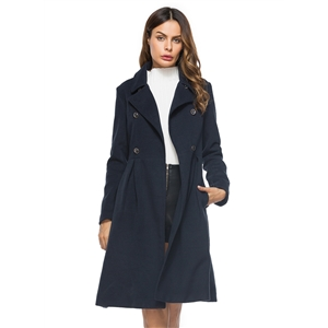 Fashion Long Sleeve Double Breasted Coat