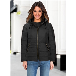 Fashion Full Zip Thicken Hooded Padded Coat