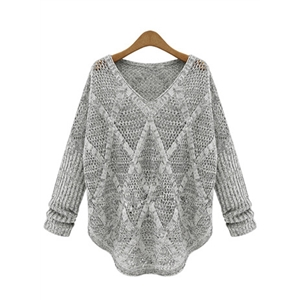 V Neck Hollow out Long Sleeve Knit Sweater
