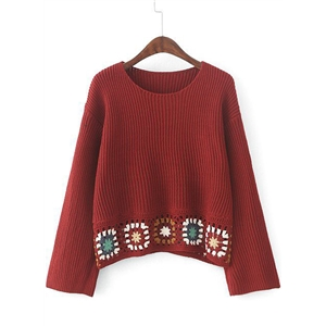 National Wind Crochet Loose Fit Knit Sweater
