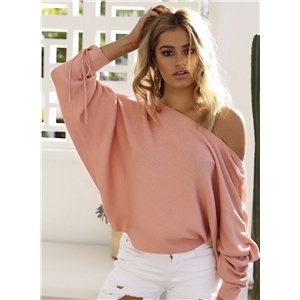 Batwing Sleeve Solid Color Pullover Sweater