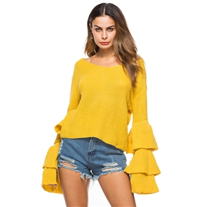V Neck Flare Sleeve Solid Color Knit Sweater