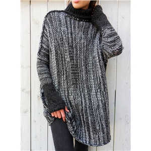 High Neck Long Sleeve Color Block Knit Pullover Sweater