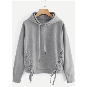 Long Sleeve Solid Color Lace Up Hoodie