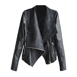 Fashion Slant Zip Irregular PU Jacket