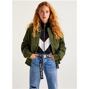 Fashion Long Sleeve Loose Bomber Jacket