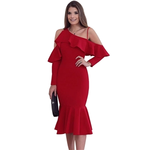 Asymmetric Slope Shoulder Mermaid Ruffle Dress