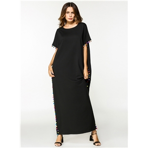 Fashion Short Sleeve Loose Maxi Dress with Pompon