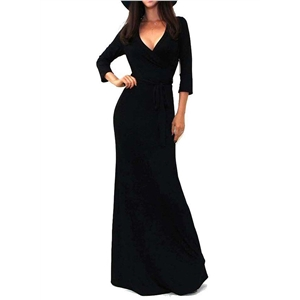 V Neck 3/4 Sleeve Tie Waist Maxi Evening Dress