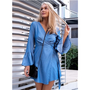 V Neck Flare Sleeve Tie Waist Denim Dress