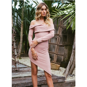 Solid Off Shoulder Irregular Bodycon Party Dress