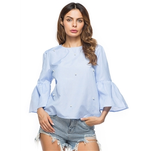 Flare Sleeve Pearls Pullover Blouse