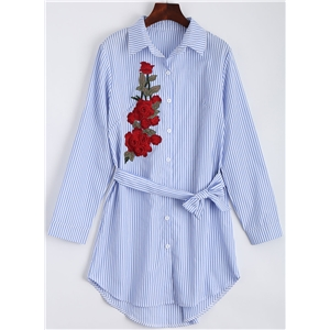 Stripe Rose Embroidery Shirt Dress with Belt