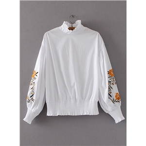 Half Collar Long Sleeve Floral Embroidery Blouse