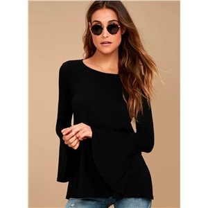 Round Neck Flare Sleeve Backless Lace-up Tee Shirt