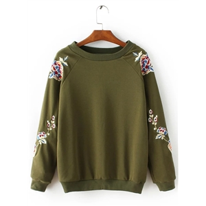 Round Neck Floral Embroidery Long Sleeve Pullover Sweatshirt