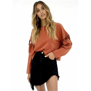 Round Neck Long Sleeve Solid Color Splicing Lace Up Sweatshirt