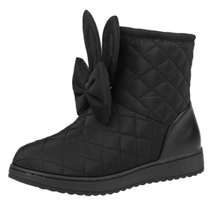 Cute Solid Color Bow Round Toe Snow Boots