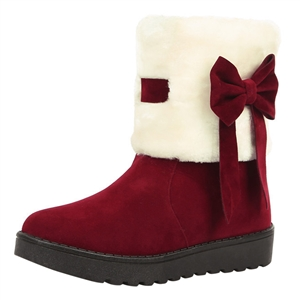 Color Block Bow Round Toe Flat Snow Boots
