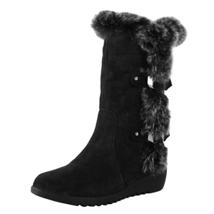 Round Toe Wedge Heels Faux Fur Mid-calf Boots
