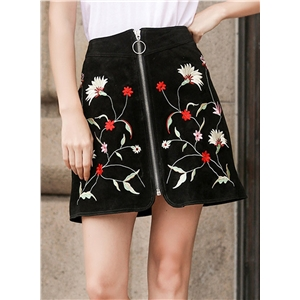 High Waist Floral Embroidery Mini Skirt