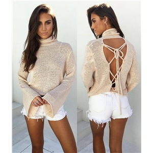 New Style Sexy Lace-Up Open Back Turtleneck Bell Sleeve Knitted Top
