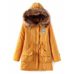 Yellow Drawstring Patch Detail Faux Shearling Lining Hooded Coat