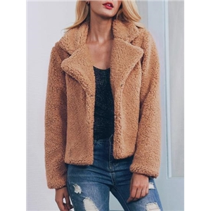 Camel Lapel Faux Shearling Coat