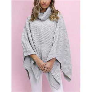 Gray High Neck Batwing Sleeve Knit Sweater