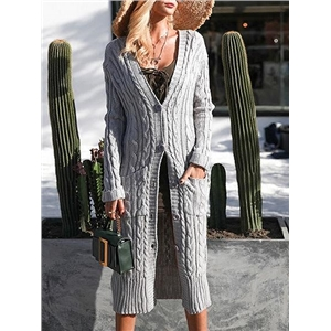 Gray Pocket Button Placket Cable Longline Cardigan