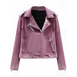 Purple Velvet Lapel Zip Detail Biker Jacket