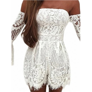 White Off Shoulder Flare Sleeve Lace Romper Playsuit