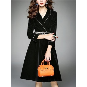Black Velvet Lapel Buckle Belt Detail Long Sleeve Dress