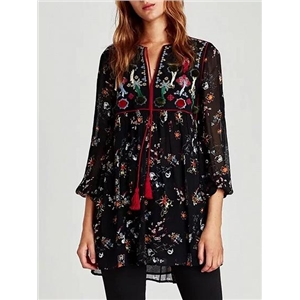 Black Tassel Tie Embroidery Detail Print Floral Mini Dress