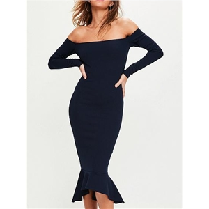 Navy Blue Off Shoulder Long Sleeve Pephem Bodycon Dress