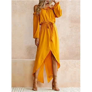 Yellow Off Shoulder Ruffle Trim Tie Waist Hi-Lo Dress