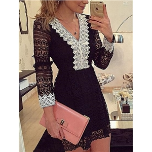 Black V-neck Long Sleeve Lace Dress