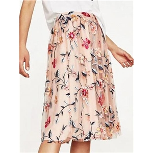 Pink High Waist Embroidery Floral Mesh Skirt