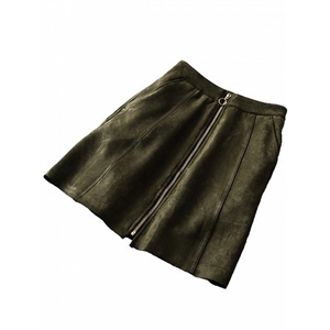 Green Faux Suede High Waist Circle Zip Front Mini Skirt