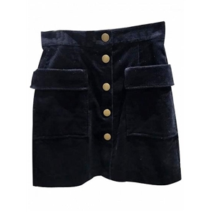 Dark Blue High Waist Button Placket Corduroy Skirt