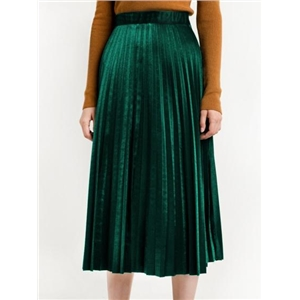 Green High Waist Velvet Pleated Midi Skirt