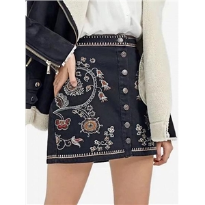 Black Embroidery Detail Button Front Denim Mini Skirt