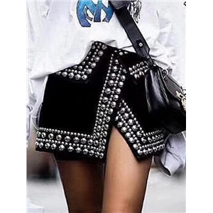 Black High Waist Stud Detail Split Asymmetric Hem Mini Skirt
